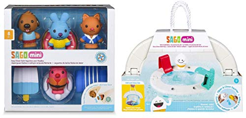 GUND Mini Bath Tub Toy Bundle, Bath Squirters and Floaties Gift Pack and Yeti's Pool Party Playset