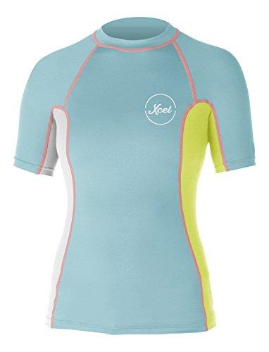 Xcel Women's Paradise UV Short Sleeve with Key Pocket, Honey Dew/White/Lemon Ale, XX-Large