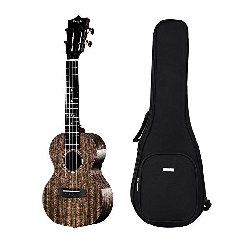 Enya EUC-MAD Concert Ukulele Solid Gloss Mahogany 23 Inch Wiping Black with High-end 15mm Padded Gig Bag