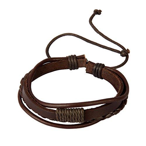 Homyl Punk Rock Men Women Multi Strand String Pull Tie Bracelet Braided PU Leather Braided Wax Cord - Coffee