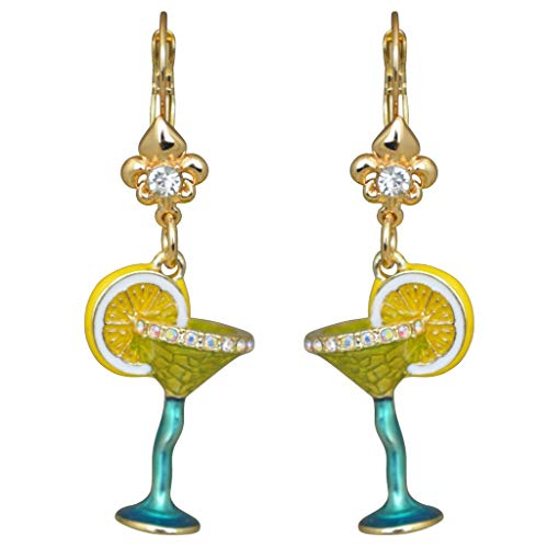 Ritzy Couture Pool Party Margarita Cocktail Glass Earring with Pave Crystal Fleur-de-Lis Leverback (Goldtone) Drop Dangle Earrings Women's Jewelry Gift for Girls Christmas Cocktail Party Dress ()