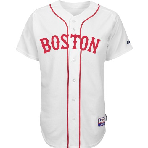 Boston Red Sox Mlb Tackle - Majestic Boston Red Sox MLB Authentic White Cool Base Button Up Jersey (44 - Large)