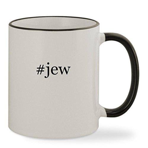 [#jew - 11oz Hashtag Colored Rim & Handle Sturdy Ceramic Coffee Cup Mug, Black] (Hasidic Jew Hat Costume)
