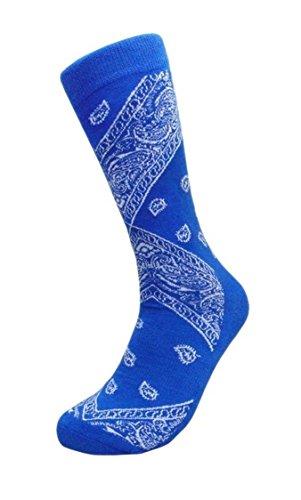Men's Bandana Design Casual Crew Socks (Sock Size:9-13, Many Colors) (Royal Blue)