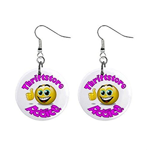 Thiftstore Addict Novelty Dangle Button Earrings Jewelry 1 inch Round 14006608