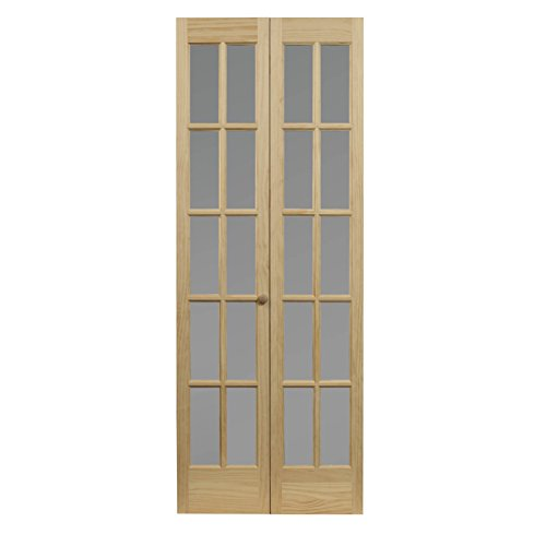 """Pinecroft 862730 Traditional Divided Frosted Glass Bifold Wood Door, 36"""" x 80"""", Unfinished"""