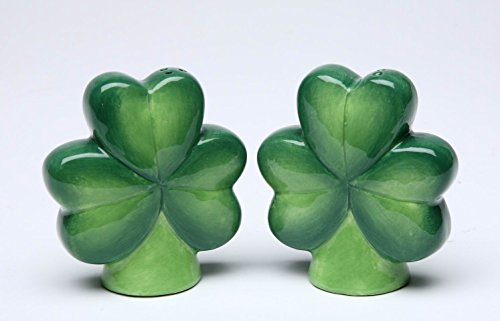"Ceramic Clover Leaves Shamrock Salt and Pepper Shakers Set 2 3/4"" H"