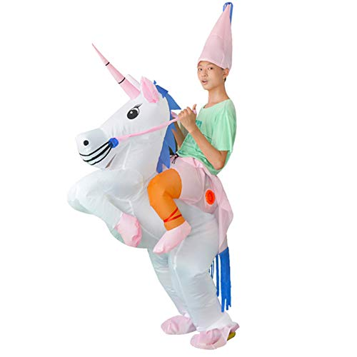 Tretree Inflatable Unicorn Rider Costume, Inflatable Costumes for Adults Or Child, Halloween Costume, Blow Up Costume(for Kid) -