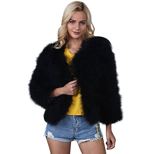 Kulywon Women Faux Fur Ostrich Feather Soft Fur Coat Jacket Fluffy Winter Xmax - Black Faux Ostrich