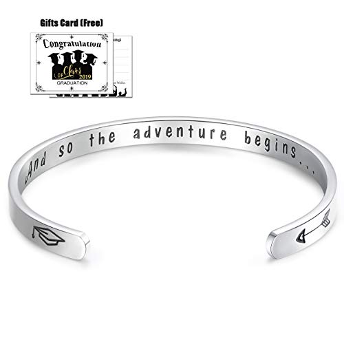 CERSLIMO Graduation Gifts Inspirational Gifts for Women Class of 2019 and So The Adventure Begins College Graduates Bracelet Cuff Bangle Friendship Encouragement Gifts for Men Girls