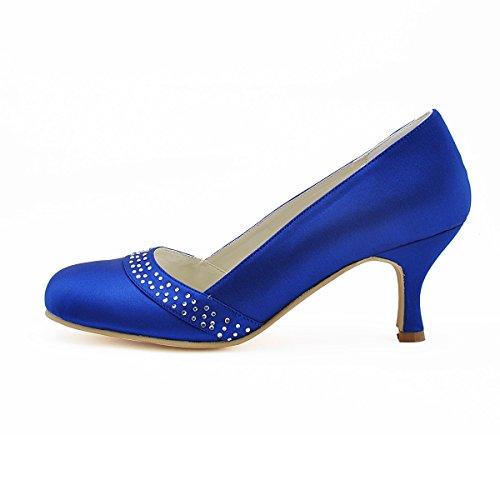 Elegantpark A0718 Mujer Talón Medio Fiesta Zapatillas Rhinestones Satén Nupcial Zapatos De Boda Azul