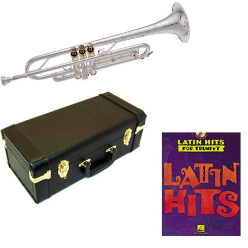 Latin Hits Bb Silver Plated Trumpet Pack - Includes Trumpet w/Case & Accessories & Latin Hits Play Along Book