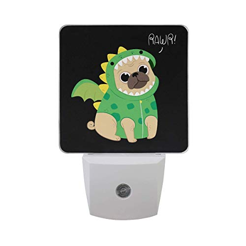 Cute Pug with Dragon Costume Unique 2 Pack Plug in LED Night Lights Auto Sensor Dusk to Dawn Decorative Night for Bedroom, Bathroom, Kitchen, Hallway, Stairs, Babys Room and More ()