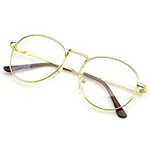 PenSee Large Oversized Metal Frame Clear Lens Round Circle Eye Glasses (Gold)