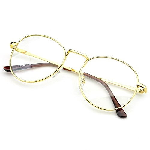 PenSee Large Oversized Metal Frame Clear Lens Round Circle Eye Glasses - Round Face Glasses With