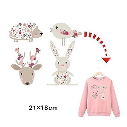 Pegatinas infantiles transfer parche termoadhesivo animales dulces para pijamas, sudaderas, camisetas, canastillas.