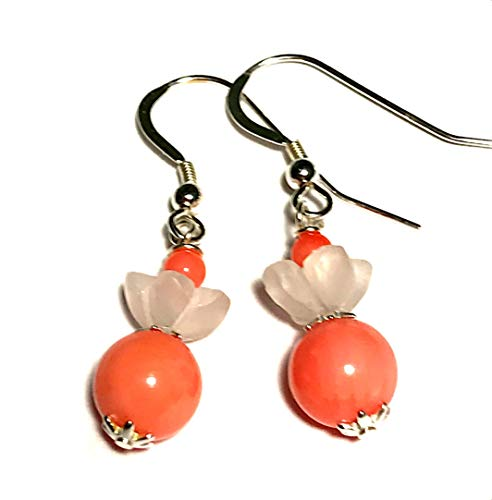 Flower pink coral and quartz earrings; Lovely small dangle drop beaded peach pink earrings; Natural gemstones; All sterling silver; Handmade in Washington State;