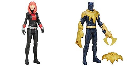 [Super Hero Titan Hero Series Black Widow vs Black Panther 12-inch Hero Series Action Figures Toys, 2] (Kid Sized Assassins Creed Costume)