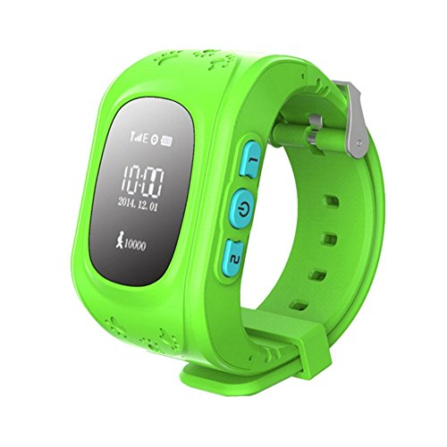 SinoPro Q50 Children Smart Watch Kids Wrist Watch with Anti-lost GPS Tracker SOS Call Location Finder Remote Monitor Pedometer Functions Parent Control By iPhone and Android Smartphones (Green)