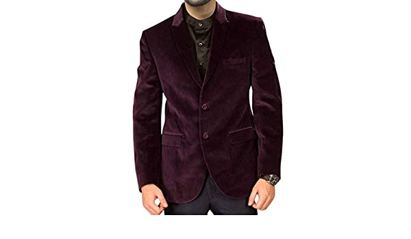 92eabee6911ae INMONARCH Mens Slim fit Casual Mulberry Velvet Coat Handsome Two Button  VB23 at Amazon Men s Clothing store