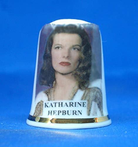 Free Box Porcelain China Collectable Thimble Vintage Film Stars Katherine Hepburn