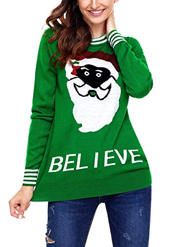 fogohill Women's&Ladies&Teen Girls Reindeer Snowflakes Santa Snowman Knitted Ugly Christmas Sweater Cute Pullover Tops Believe Green X-Large ()