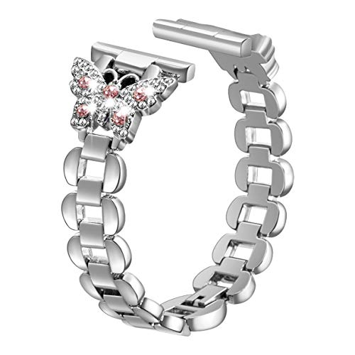 SHGM Bling Band Compatible Apple Watch Band 38mm 40mm iWatch Series 4, Series 3, Series 2, Series 1, Diamond Rhinestone Stainless Steel Metal Wristband Strap,(Fine Silver 38/40mm and Pink Diamond)