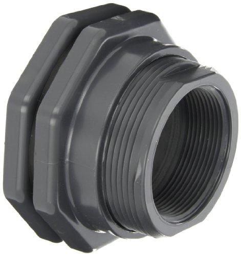 (Hayward BFAS1030CFS Series BFAS Short Pattern Bulkhead Fitting, Socket x Threaded End, PVC with FPM Seals, 3