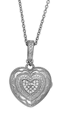 With You Lockets Sterling Silver-Diamond-Heart-Custom Photo Locket Necklace-18-inch Chain-The Rose