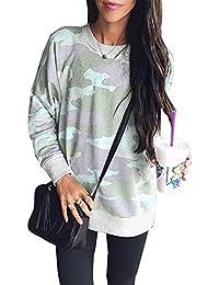 Women's Leopard Print Long Sleeve Crew Neck Fit Casual Sweatshirt Pullover Tops Shirts