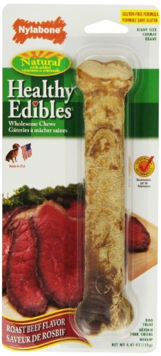 Nylabone Healthy Edibles Giant Roast Beef Flavored Dog Treat Bone, 1 Count