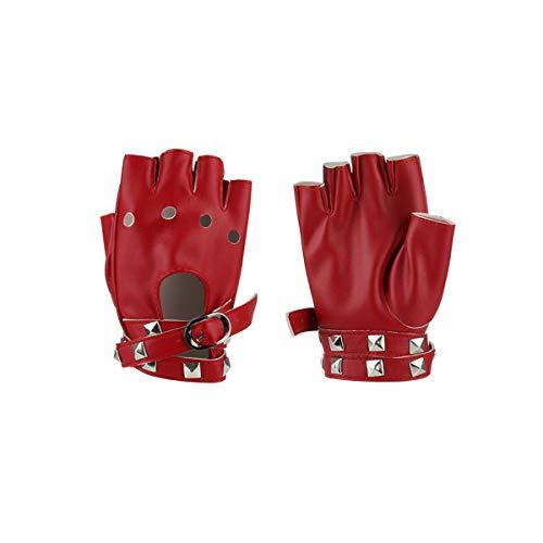 Women Punk Rock Half Finger Gothic Gloves Cosplay Costume Rivets Studded Biker Driving Leather Fingerless Gloves Red
