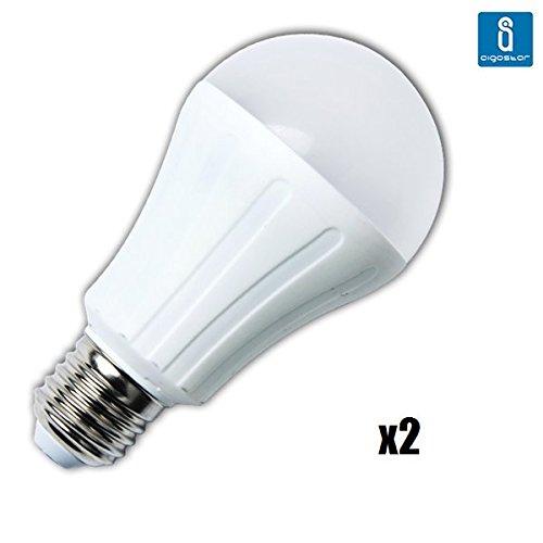 Pack de 2 Bombillas LED A65, 15W, casquillo gordo E27, 1125 lumen ...