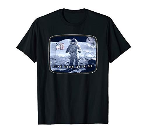Moon Landing Conspiracy  Area 51 Live TV Broadcast Fake Hoax T-Shirt