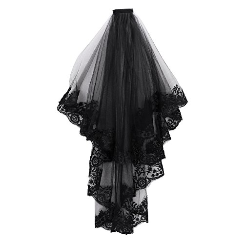 2T Tier Black Lace Veil Hair Accessory 2 layers Creative Cathedral Wedding Veil with Comb Costume Headwear Halloween Veil