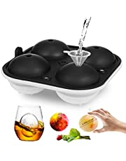 "Ice Tray, Easy Release Silicone Ice Trays 2"" Large Round Ice Ball Mold for Kitchen Freezer Whiskey Cocktails Ice Cube Tray"