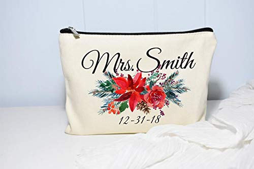(Christmas Wedding Makeup Bag, Winter Wedding Gift, Poinsettia Wedding Decor, Holidays, Personalized Makeup Bag, Winter Bridal Shower Gift)
