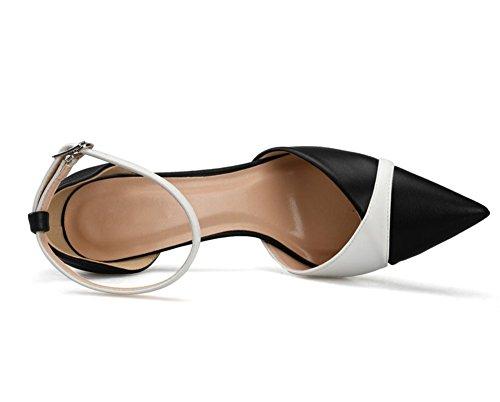 Zapatillas Puntiagudo Correa Corte Tacón Del Medio Black Nvxie Oficina Fiesta Tobillo Mujer Dedo Alto Zapatos Pie Trabajo AExqww6SpC