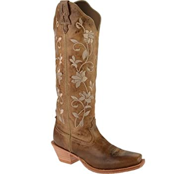 Twisted X Women's Steppin' Out Floral Embroidered Cowgirl Square Toe Oiled  Rust Leather Boots 8