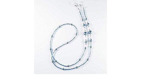 Blue Bone Mix Glass Bead Eyeglass Chain Womens eyeglass chain Mens eyeglass chain 1058 Eyeglass Chain