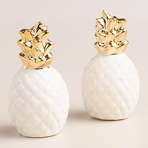 Ceramic Pineapple Salt and Pepper Shaker Set - Gold and White