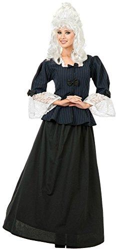 [Charades Women's Martha Washington Peplum Blouse With Skirt, Navy/White, Medium] (Colonial Costumes 1700)