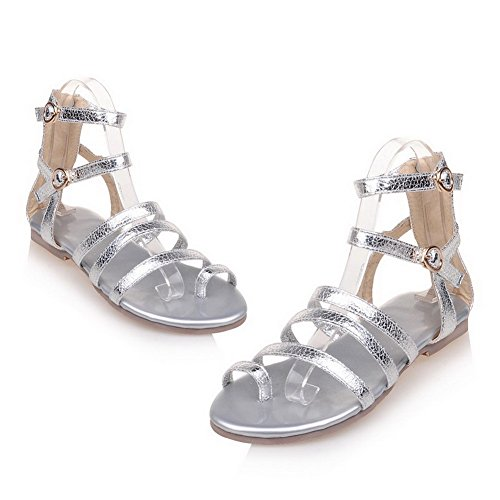 AmoonyFashion Womens Open-Toe Zipper PU Solid Low-heels Sandals Silver tFraDJDoJC