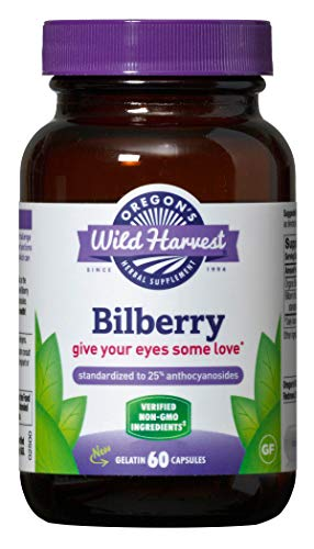 Oregon's Wild Harvest Non-GMO Bilberry Capsules Herbal Supplements (Packaging May Vary), 60 Count