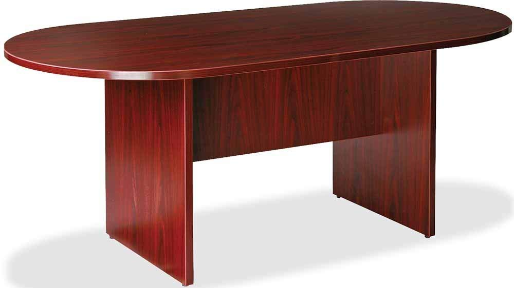 Lorell LLR87272 Oval Conference Table, Top and Base, 72'' x 36'' x 29-1/2'', Mahogany (Renewed)