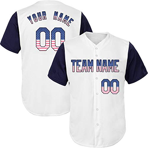 White/Navy League Custom Baseball Jersey for Men Embroidered Your Name & Numbers,USA Flag-Navy Size 3XL