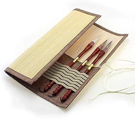 LSHY Arte Cepillos de Escritura Bolsa de bambú Bolsa Organizador Titular Roll Up Pincel clásico Estuche para el Artista Caligrafía Práctica Práctica de Pintura de Acuarela(15.35 x 13.77 Pulgadas): Amazon.es: Hogar