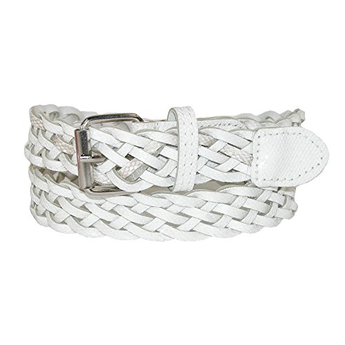 - CTM Girls' Metallic Braided Belt, Xlarge, White/Silver