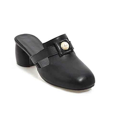 au Femmes la Talon Tête carré de Flip Arrière Flop Vintage Black en Sandales Milieu wtZqdZC