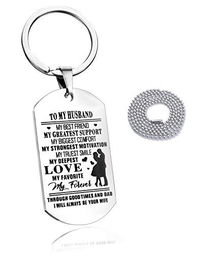 To My Husband Key Chain Dog Tag Necklace For Mencar Key Ring My